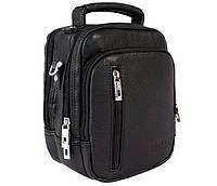 Мужская сумка-барсетка из экокожи через плечо черная