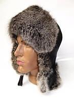 Тёплая шапка ушанка мужская из натурального меха кролика