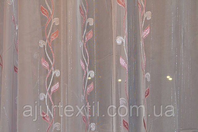 """Тюль вуаль фентези """"Плетение"""" розовый, фото 2"""