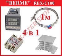 Терморегулятор REX-C100 + термопара, SSR 40 DA, радиатор