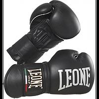 Боксерские перчатки, натуральная кожа 12 oz Professiona Leone черный