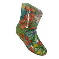 """Сапоги резиновые силиконовые женские """"Красные цветы на зеленом"""", фото 1"""