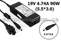 Блок питания для ноутбука Оригинальный Samsung 19v 4.74a 90w (5.5/3.0) AD-9019, R50 R55 R65 T10 GT6000 GT6330
