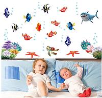 """Наклейки на стену, наклейки в ванную """"подводная братва"""" 60*130см  (лист 45*60см) рыбки Немо, акулы"""