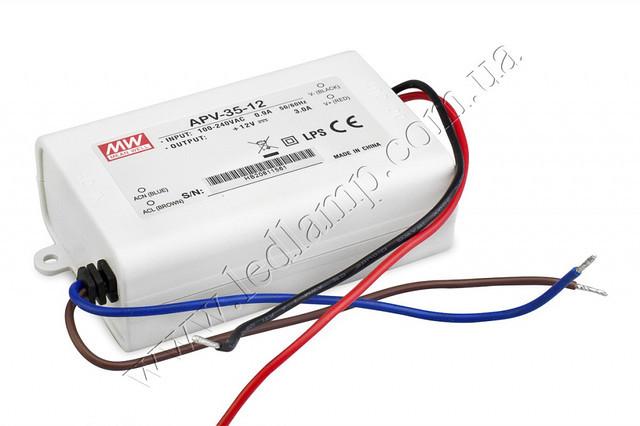 Джерело живлення APV-25-12: AC / DC, IP30, 25W. 84 * 57 * 29.5mm (L * W * H)