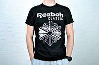 Футболка мужская  Reebok хлопок черная / рибок