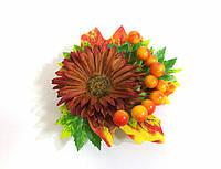 Заколка ручной работы, золотая осень, коричневая хризантема, листья и калина