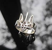 Кольцо женское на мизинец с Гербом Украины серебро 925, фото 1