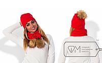 Комплект женский шапка+шарф ,Фабрика Моды