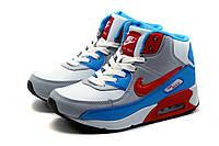 Найк Air Max, кроссовки унисекс, на меху, серые с белым, зимние, кожаные, фото 1