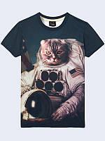 Футболка 3D Американський кіт космонавт