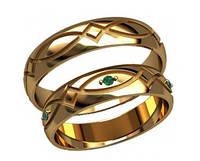 Изящные золотые обручальные кольца 585* с камнями на женском кольце