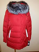 Куртка женская зимняя с мехом красная 16-026