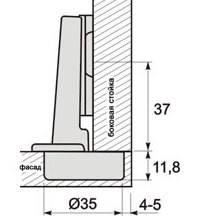 Петля мебельная d=35mm, ALVA- эконом, фото 2