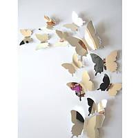 """Наклейка на стену, виниловые наклейки, украшения стены наклейки """"наклейки 3D бабочки зеркальные 12шт, фото 1"""
