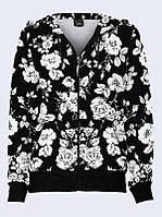 Худи Чёрно-белые цветы
