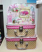 """Набор из 3 шкатулок чемоданчиков """"Лондон"""". Подарки в стиле Прованс"""
