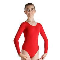 Купальник для гимнастики красный с длинным рукавом красный SP27068.