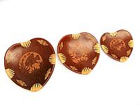 Блюдца терракотовые Сердечки набор 3 шт