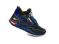 Зимние мужские кожаные кроссовки Reebok синий 41. 42.