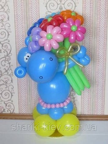 Бегемот с букетом из 7-ми Ромашек на День рождения, фото 2
