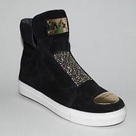 """Ботинки в стиле """"Сникерсы"""" из натуральной замши, черные"""