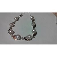 Женский браслет из серебра с золотом и жемчугом