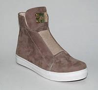 """Ботинки в стиле """"Сникерсы"""" из натуральной замши, светло-коричневые"""