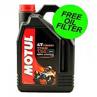 Моторное масло Motul 7100 10W40 4L + масляный фильтр ( синтетика ) Motor Oil Motul + Oil Filter