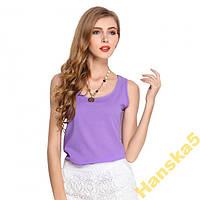 Шифоновая блузка сиреневый цвет,4 размера