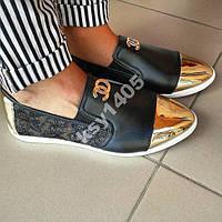 Туфли балетки лоферы слипоны Шанель Chanel Черные