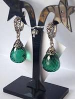 Серьги с Зеленым кварцем  из серебра 925  в Наличи