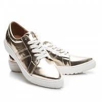 Балетки туфли слипоны золотые на белой подошве, фото 1