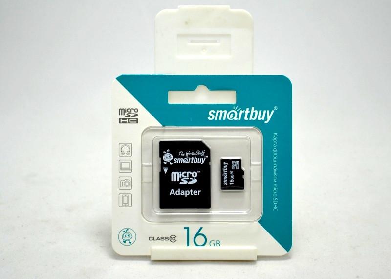 Карта памяти MicroSD 16 Gb 10 класс SmartBuy