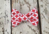 Детский галстук-бабочка Геометрия (красно-белая)