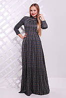 Женское модное теплое платье в пол р.S клетка