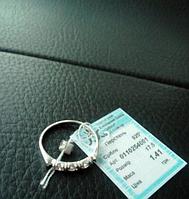 Женское серебряное кольцо с цирконом 17.5р