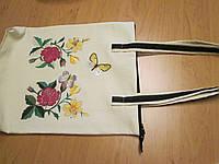 Сумка вместительная с вышивкой(крестик, гладь), больше формата А4
