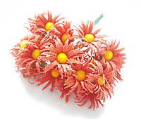 Цветы Ромашки Коралловые 2,5 см диаметр 10 шт/уп