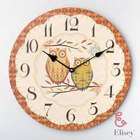 Стильные настенные часы Совы в стиле Прованс, диаметр 35 см 058A