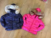 Теплая детская куртка с натуральным мехом на размеры 3, 4, 5, 6, 7  (4 цвета)