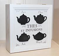 Деревянная шкатулка для чая Прованс на 6 отделений 69015