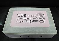 Деревянная шкатулка для чая Прованс на 6 отделений 102015