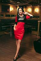 Модное платье с эко кожей, в ассотрименте, фото 1