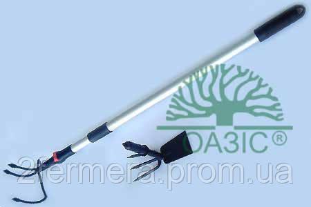 1510-1132-54  Тяпка-трезубец  и рыхлитель металлические и алюминиевая  телескопическая рукоятка (2 в 1)