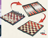 """Шахматы магнитные K1114 """"3 в 1"""", шашки, нарды, в коробке 25*13см"""