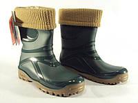 Резиновые сапоги Demar Young Fur зеленый р.36-42 на осень и зиму подростковые мальчикам и девочкам