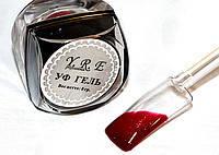 Цветной Уф Гель для дизайна и покрытия ногтей, БОРДОВЫЙ с мелким мерцанием, 8 мл.