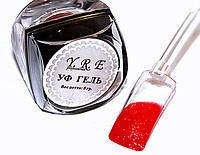 Кольоровий Уф Гель для дизайну і покриття нігтів, ЧЕРВОНИЙ з мерехтінням, 8 мл., фото 1