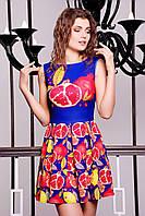 Платье красное с синим в принт Гранат